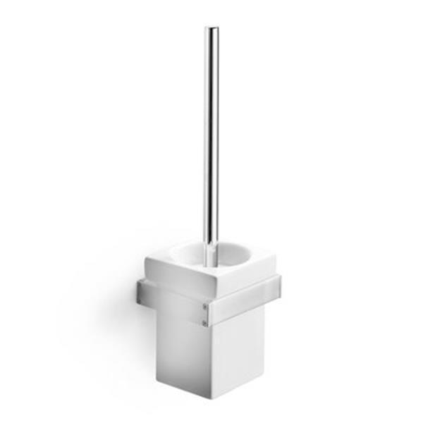 WS Bath Collections Skuara Polished Chrome/Ceramic White Wall Mounted Toilet Brush Holder