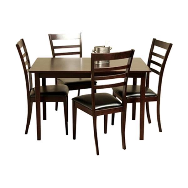 Warehouse of Tiffany Crystal Light Cappuccino 5-Piece Dining Set