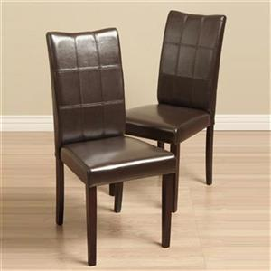 Warehouse of Tiffany Eveleen 38.1-in x 17.7-in Brown Dining Chair (Set of 2)