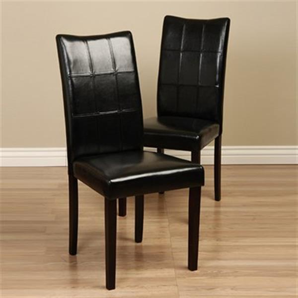 Warehouse of Tiffany Eveleen 38.1-in x 17.7-in Black Dining Chair (Set of 2)