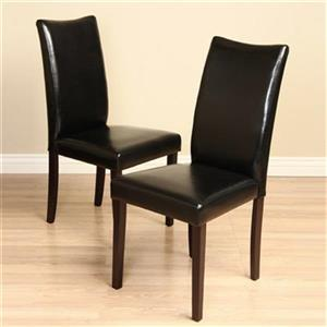 Warehouse of Tiffany Shio Bi-Cast 38.1-in x 17.7-in Black Leather Dining Chair (Set of 2)