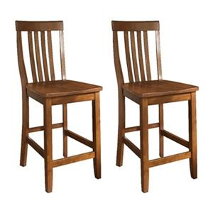 Crosley Furniture School House 24-in Classic Cherry Bar Stool (Set of 2)