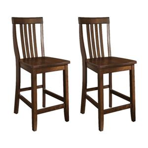 Crosley Furniture School House 24-in vintage Mahogany Bar Stool (Set of 2)