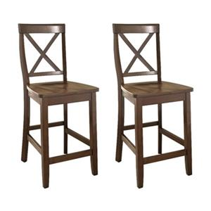 Crosley Furniture 24-in Vintage Mahogany X- Back Bar Stool (Set of 2)