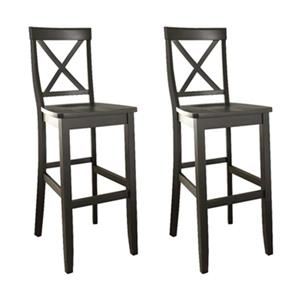 Crosley Furniture 30-in Black X-Back Bar Stool (Set of 2)