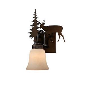 Cascadia Bryce 1-Light Bronze Rustic Deer Bathroom Wall Fixture