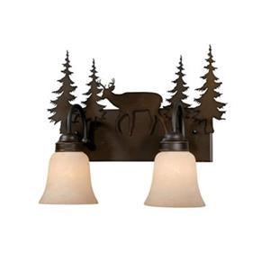 Cascadia Bryce 2-Light Bronze Rustic Deer Bathroom Vanity Fixture
