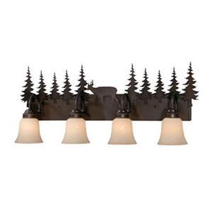Cascadia Bryce 4-Light Bronze Rustic Deer Bathroom Vanity Fixture