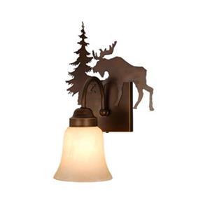 Cascadia Yellowstone 1-Light Bronze Rustic Moose Bathroom Wall Light