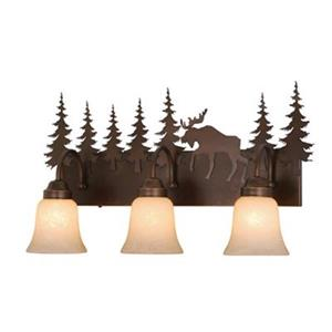 Cascadia Lighting Yellowstone Burnished Bronze 3-Light Bathroom Vanity Light