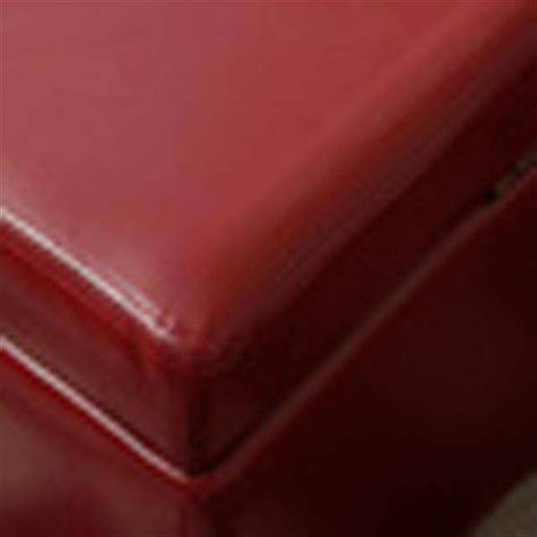 Warehouse of Tiffany Red Bi-Cast Leather Bench Ottoman