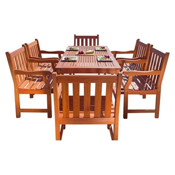 Vifah Malibu Outdoor Patio 7-Piece Wood Dining Set