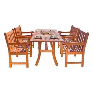 Vifah Malibu Outdoor 5-Piece Rectangular Wood Dining Set