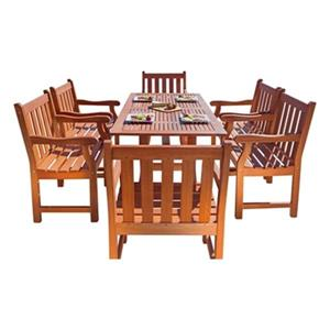 Vifah Malibu Outdoor 7-Piece Wood Dining Set