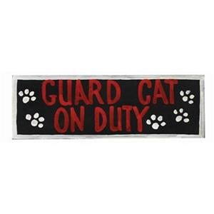 RAM Game Room 7-in Guard Cat On Duty Outdoor Sign