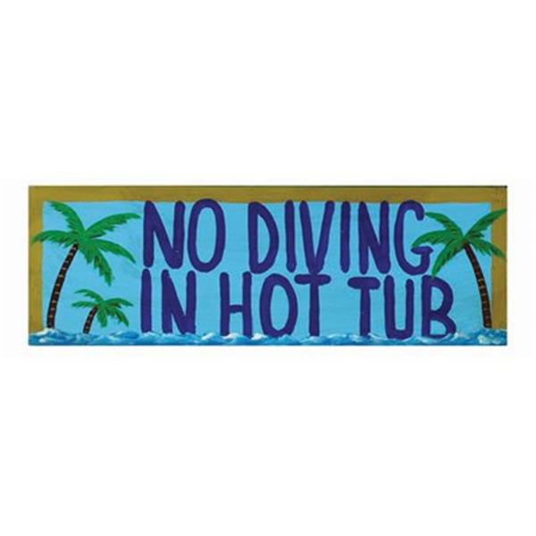 RAM Game Room Products 7-in No Diving in Hot Tub Outdoor Sign Wall Art