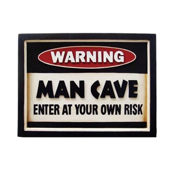 RAM Game Room 11.50-in x 15.50-in Warning Man Cave Sign Framed Art