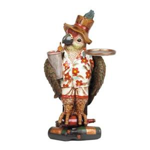 RAM Game Room Products Resin Mini Parrot Waiter Statue
