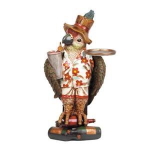 RAM Game Room Resin Mini Parrot Waiter Statue