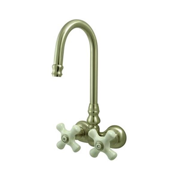 Elements of Design Hot Springs 9.50-in Satin Nickel  HiRise Spout TubWall Clawfoot Tub and Shower Filler