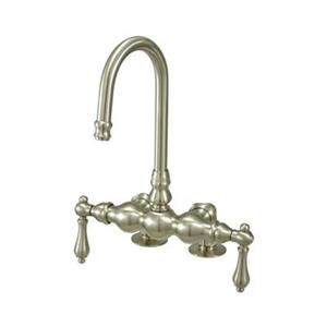 Elements of Design Hot Springs 10-in Satin Nickel Deckmount Clawfoot Tub and Shower Filler