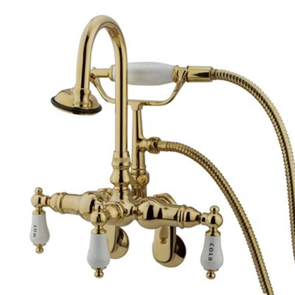 Elements of Design Chrome 10.75-in Polished Brass Hot Springs  Clawfoot Tub and Shower Filler