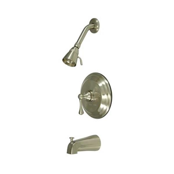 Elements of Design New York Satin Nickel Tub Faucet Shower System with Buckingham Cross Handle