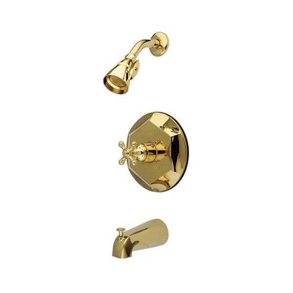 Elements of Design English Vintage Polished Brass Tub Faucet Shower System