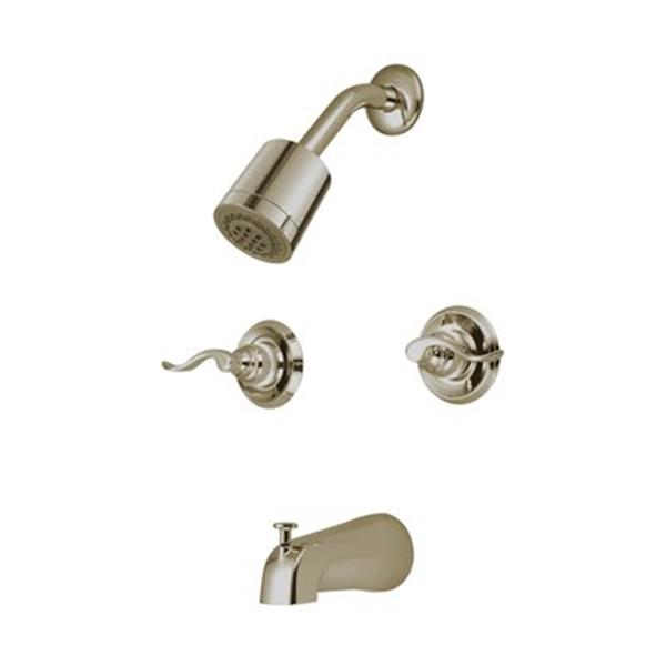 Elements of Design NuWave Satin Nickel French Tub & Shower Faucet with Two Handles
