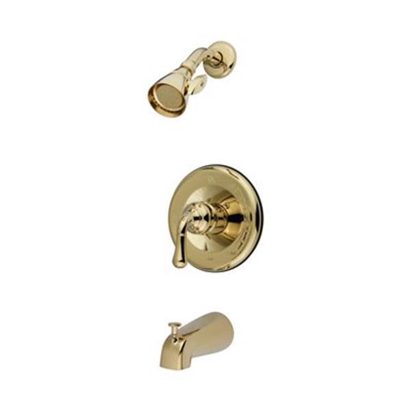 Elements of Design Magellan Polished Brass Single Lever Handle Tub Faucet Shower System