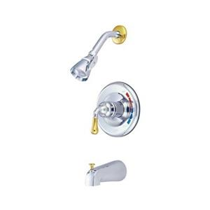 Elements of Design Magellan Chrome/Polished Brass Pressure Balanced Shower System with Tub Spout