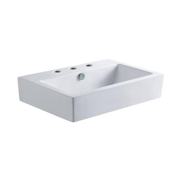 Elements of Design Clearwater 24.13-in x 16.75-in White Rectangular Vessel Sink
