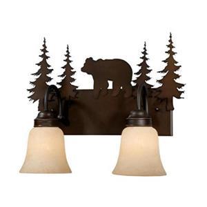 Cascadia Bozeman 2-Light Bronze Rustic Bear Bathroom Vanity Fixture