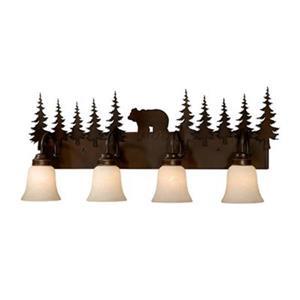 Cascadia Bozeman 4-Light Bronze Rustic Bear Bathroom Vanity Fixture
