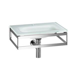 WS Bath Collections Linea 20.1-in x 13.8-in White Glass Wall Mount Rectangular Bathroom Sink
