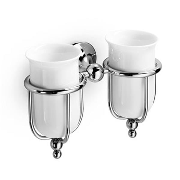 WS Bath Collections Venessia Double Porcelain Tumbler Toothbrush Holder