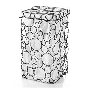 WS Bath Collections Complements Burnished Metal Circular Pattern Laundry Basket Hamper