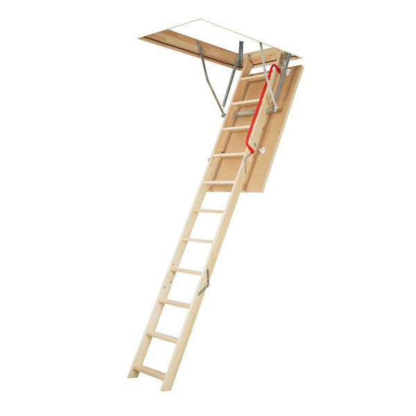 "Folding Attic Ladder - 25"" x 54"" - Wood - Clear"