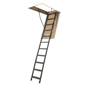 "Folding Attic Ladder - 25"" x 54"" - Steel - Gray"
