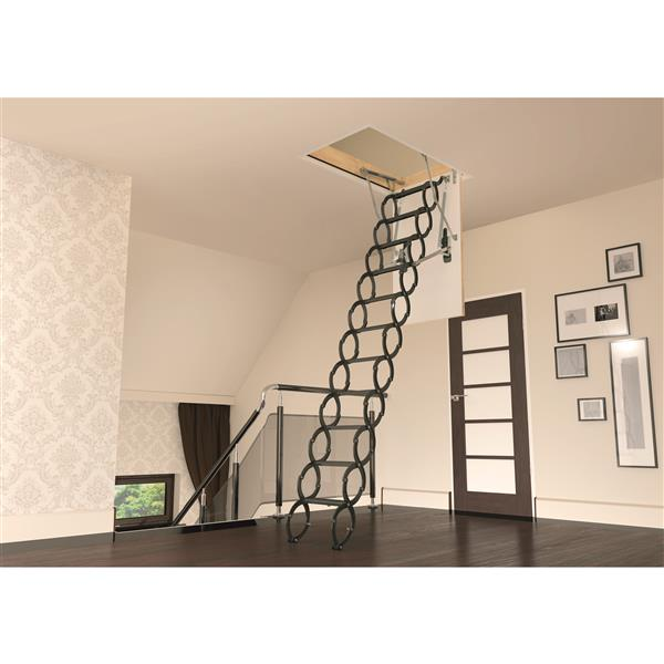 "Fakro Scissor Attic Ladder - 22.5"" x 47"" - Steel - Gray"