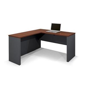 Bestar Prestige 30.40-in x 62.70 Bordeaux Graphite L-Desk