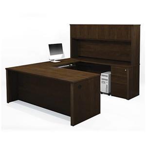 Bestar 998 Prestige + U-Shaped Workstation with Hutch,99878-
