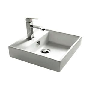 Nameeks 14.96-in x 14.96-in White Ceramica Self Rimming Square Bathroom Sink