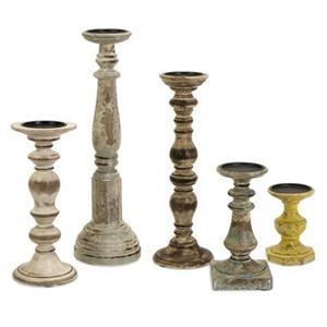 IMAX Worldwide Kanan Wood Candleholders (Set of 5)