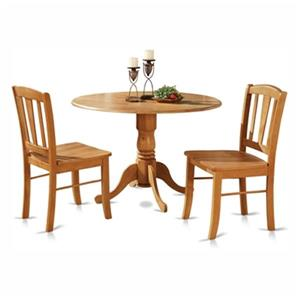 East West Furniture Dublin Wood 3-Piece Round Dining Set