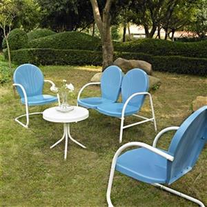 Crosley Furniture Griffith Blue 4-Piece Outdoor Conversation Set