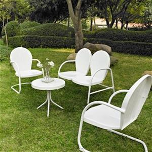 Crosley Furniture Griffith White 4-Piece Outdoor Conversation Set
