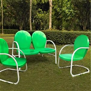 Crosley Furniture Griffith Green 3-Piece Outdoor Conversation Set