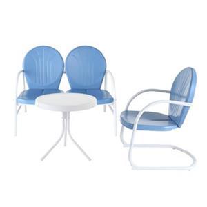 Crosley Furniture Griffith Blue 3-Piece Outdoor Conversation Set