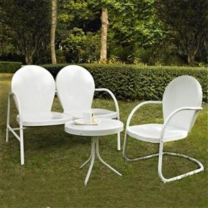 Crosley Furniture Griffith White 3-Piece Outdoor Conversation Set